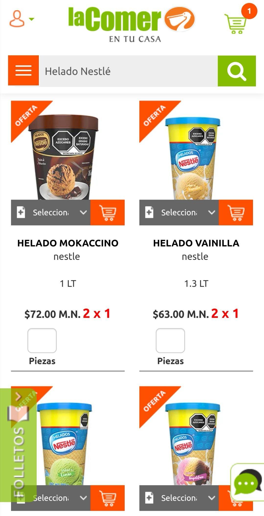 La Comer: 2 x 1 en helados Nestlé 1 y 1.3 L, Nutrisa 1 L y Bailey's 1 L