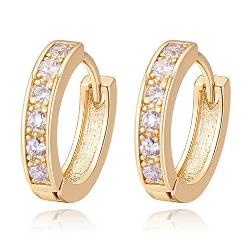 Amazon: Oro Blanco Chapado Aretes con Diamante con Zirconia Cúbica, Pendientes de Aro, Hoop Earrings para Mujeres