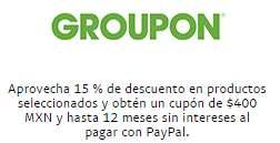 Groupon: $400 de bonificación comprando >$999 con PayPal + 15% de descuento