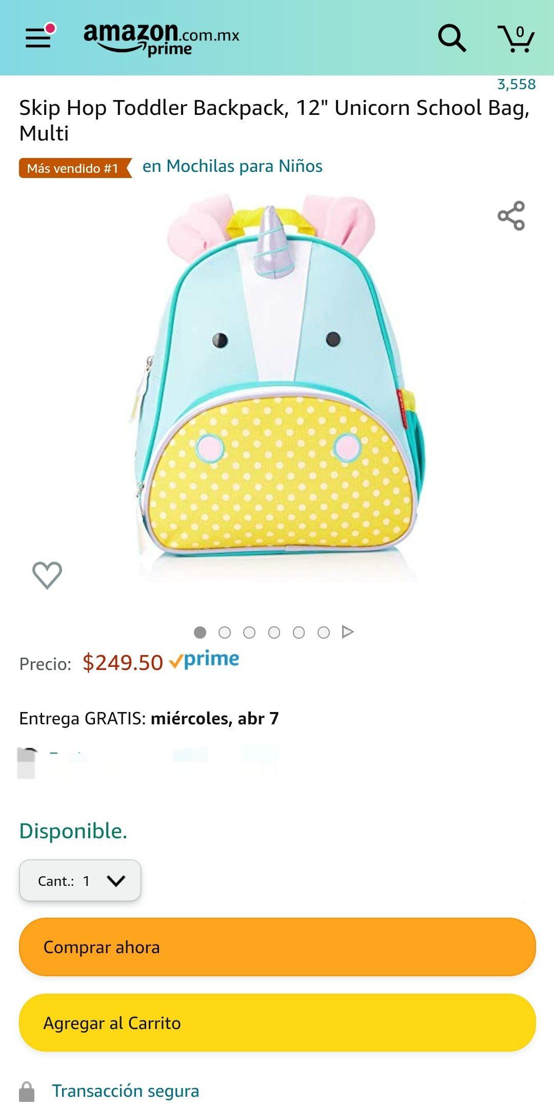 "Amazon: mochila Skip Hop Toddler Backpack, 12"" Unicorn School Baf"