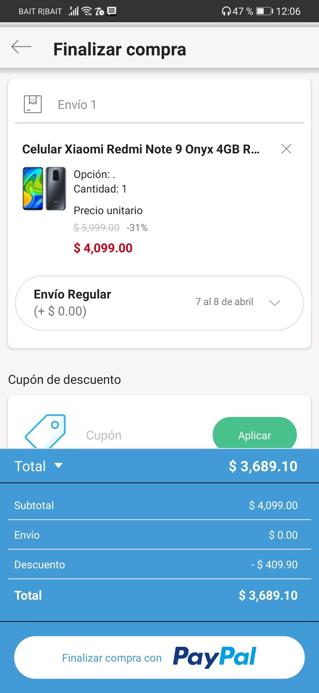 Linio: Xiaomi Redmi Note 9 de 128 GB con PayPal.