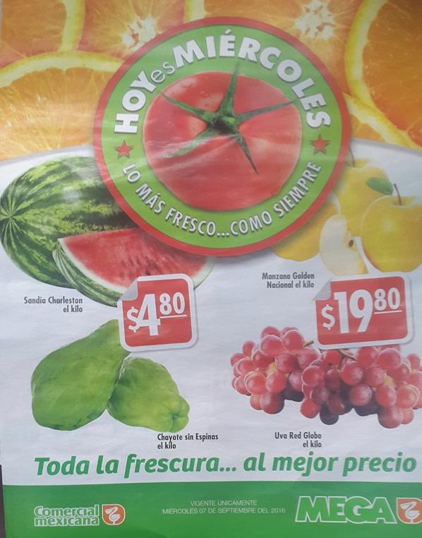 Comercial Mexicana y Mega (Hoy es Miércoles 07 Septiembre): Sandía Charleston y Chayote sin Espinas $4.80 kg; Manzana Golden y Uva Red Globo $19.80 kg.