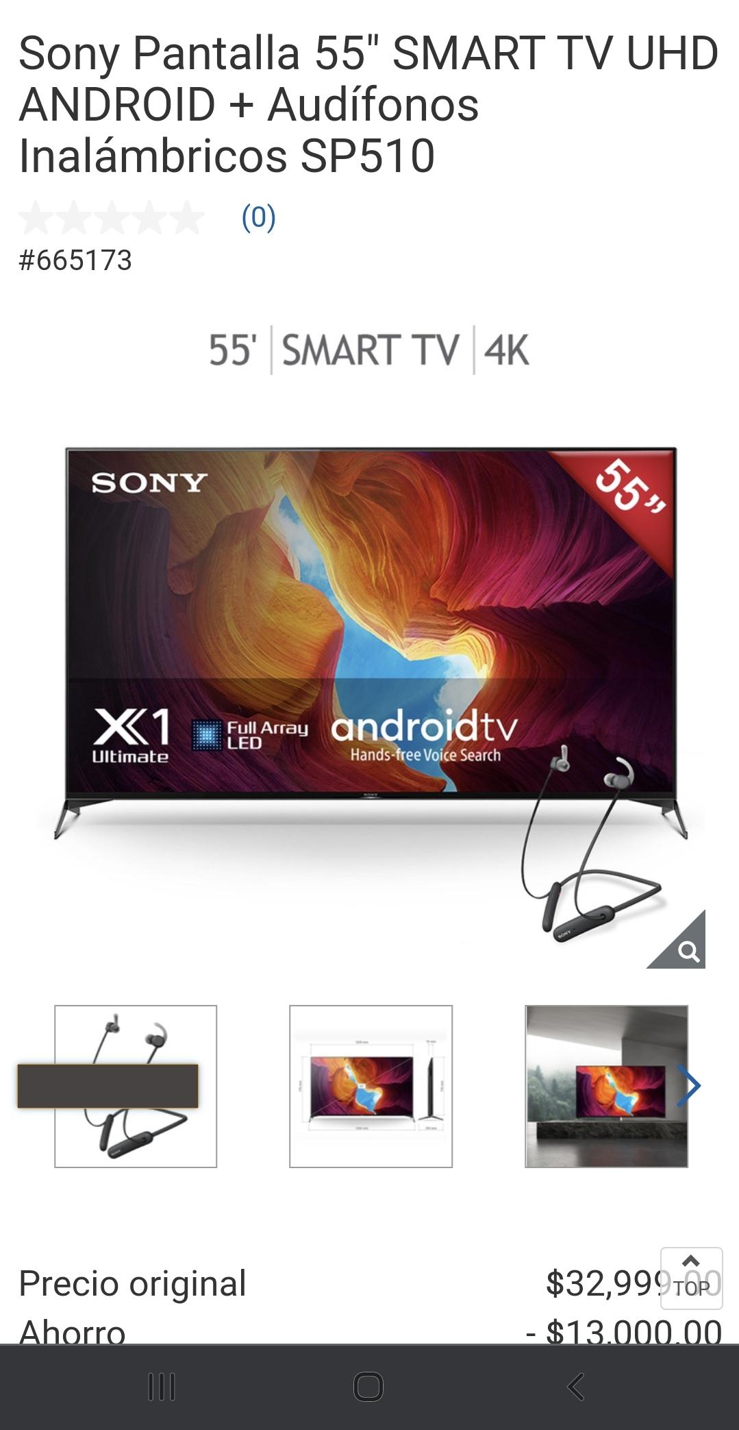 """Costco en línea Sony Pantalla X950H Gama Alta 55"""" SMART TV UHD ANDROID + Audífonos Inalámbricos SP510"""