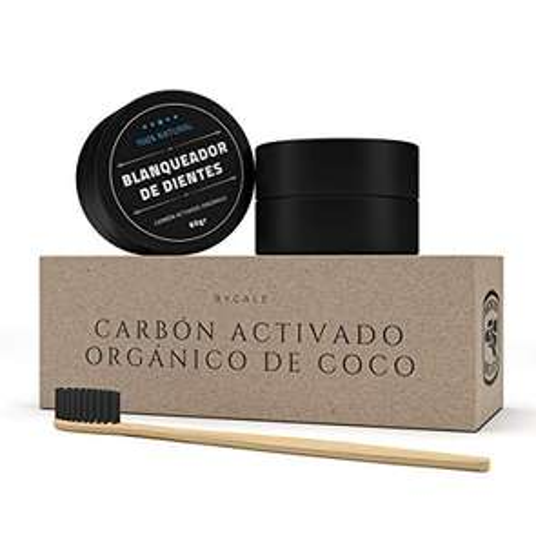 Amazon: Blanqueador Dental de Carbón Activado de Cascara de Coco, Incluye Cepillo de Dientes Hecho de Bambú, Sirve como Mascarilla