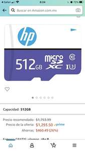 Amazon: HP Tarjeta de Memoria Flash microSDXC de 512 GB mx330, Clase 10 U3, 100 MB/s, Clase 10, U3, 4K UHD, Full HD, UHS-I, Micro SD