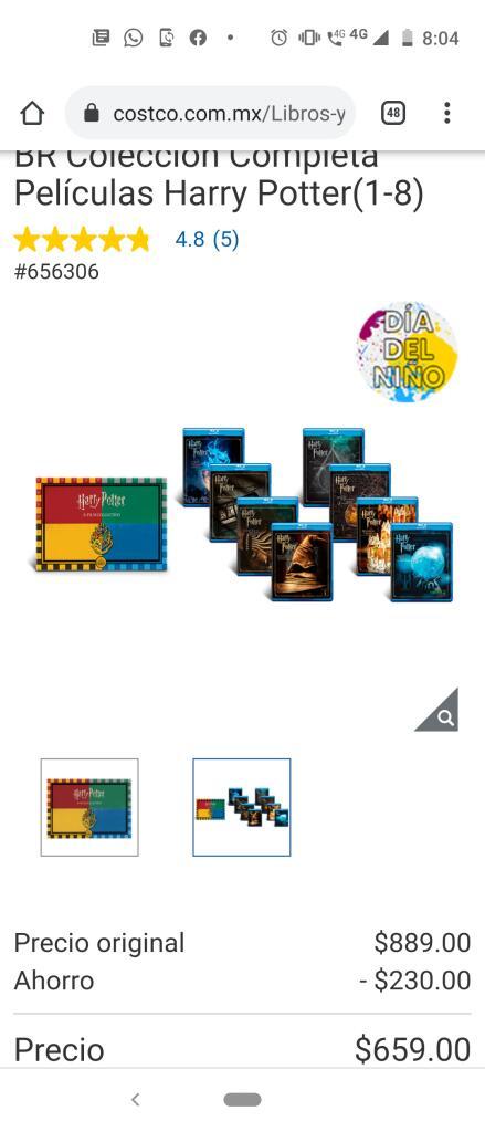 Costco: BR Colección Completa Películas Harry Potter(1-8)