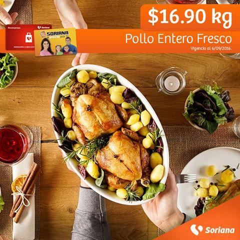 Soriana Híper y Súper: Recompensa Martes 06 Septiembre: Pollo Entero Fresco $16.90 kg.