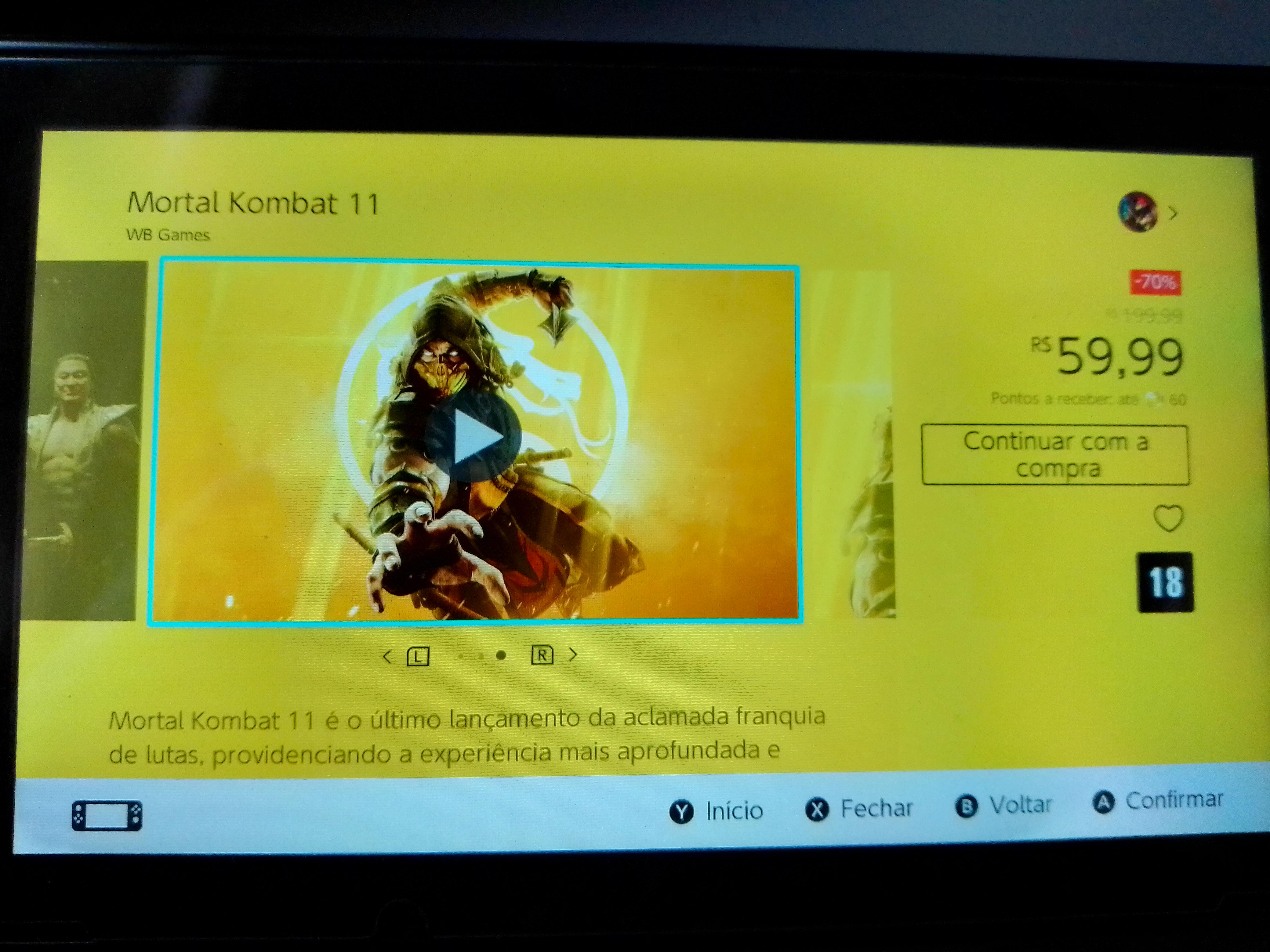 Nintendo eshop Brasil: Mortal Kombat