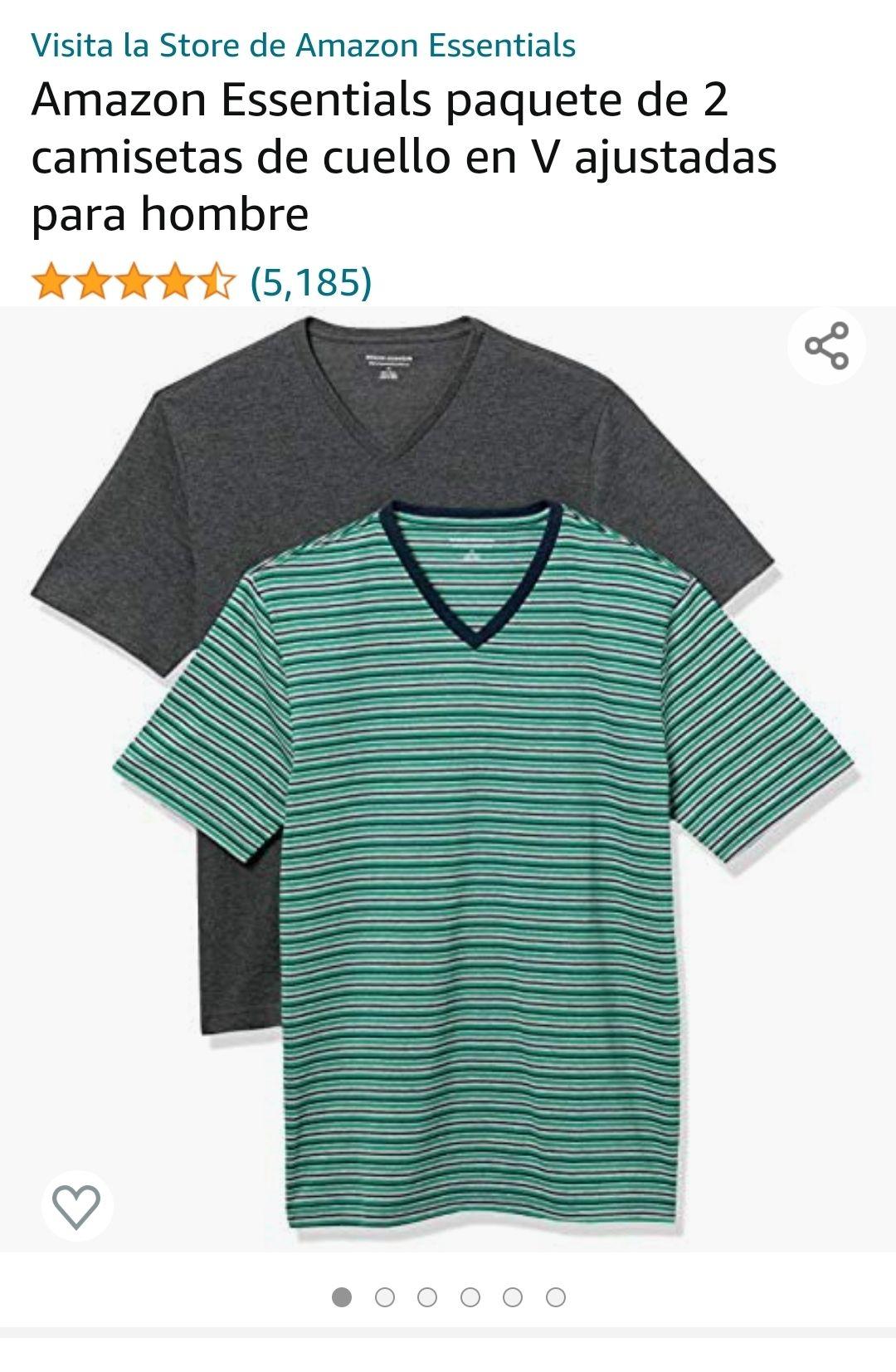Amazon Essentials paquete de 2 camisetas cuello en V