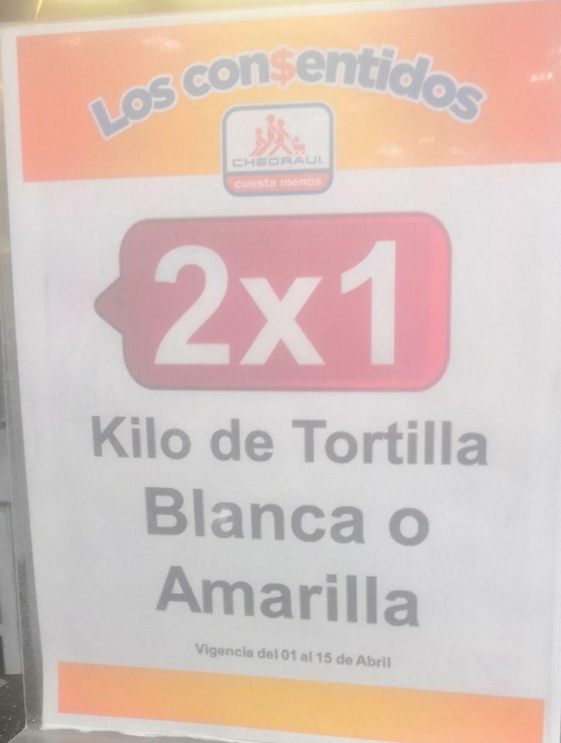 Chedraui Coapa: 2 x 1 en kilo de tortilla blanca o amarilla