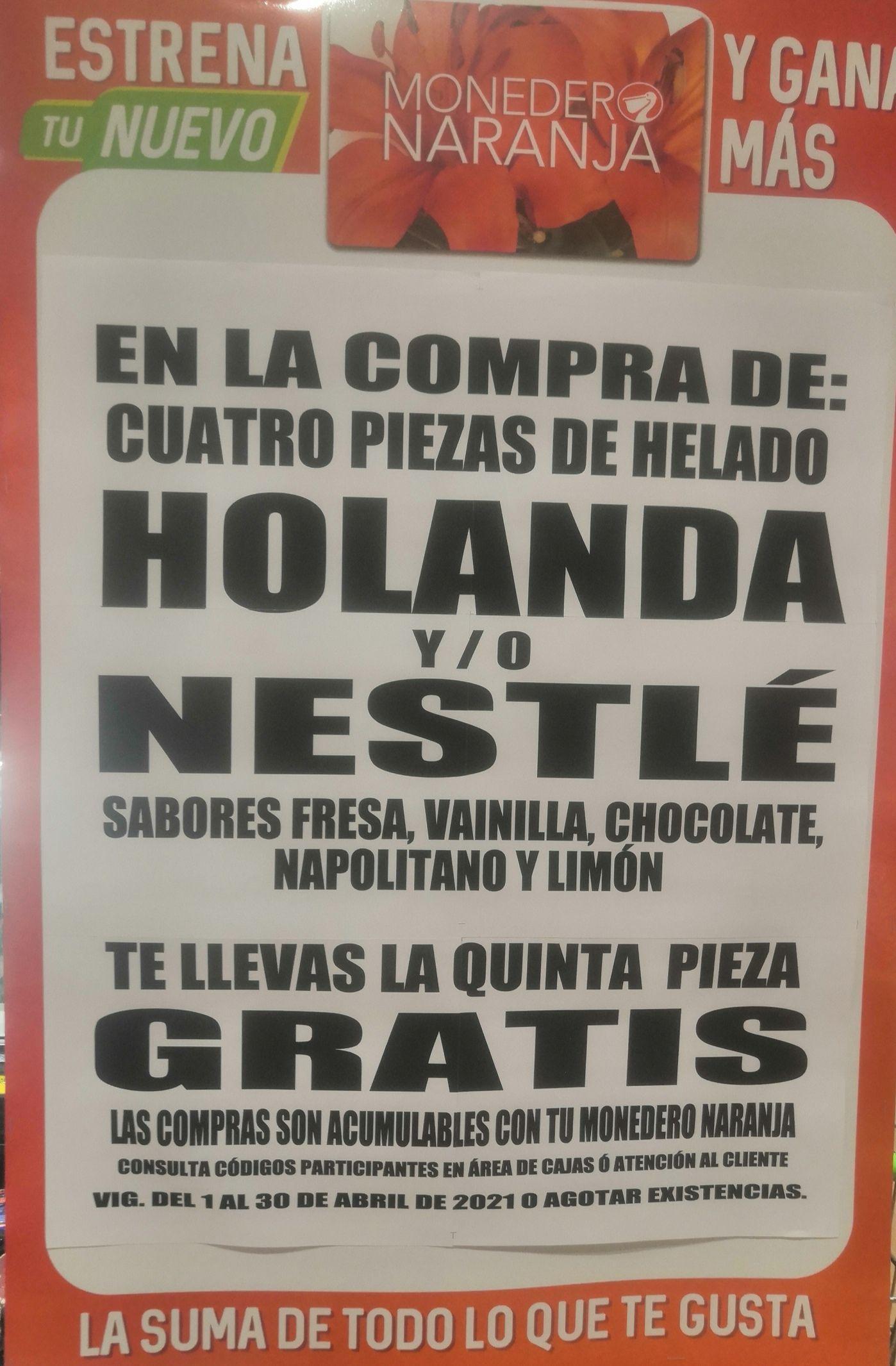 La Comer: Compra o acumula con Monedero Naranja 4 piezas de helado Holanda ó Nestlé sabores básicos, y llévate la quinta gratis