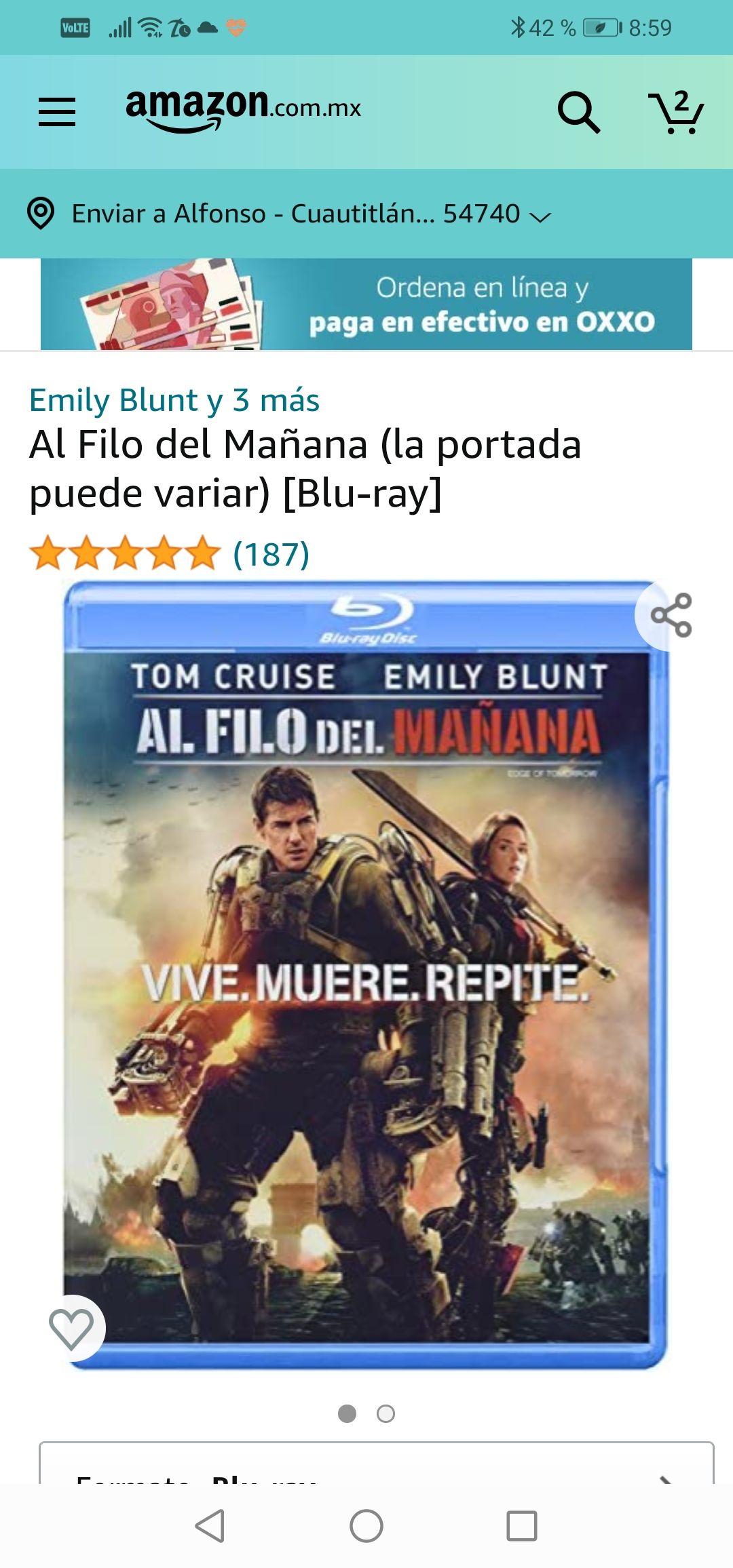 Amazon : Al Filo del Mañana (la portada puede variar) [Blu-ray
