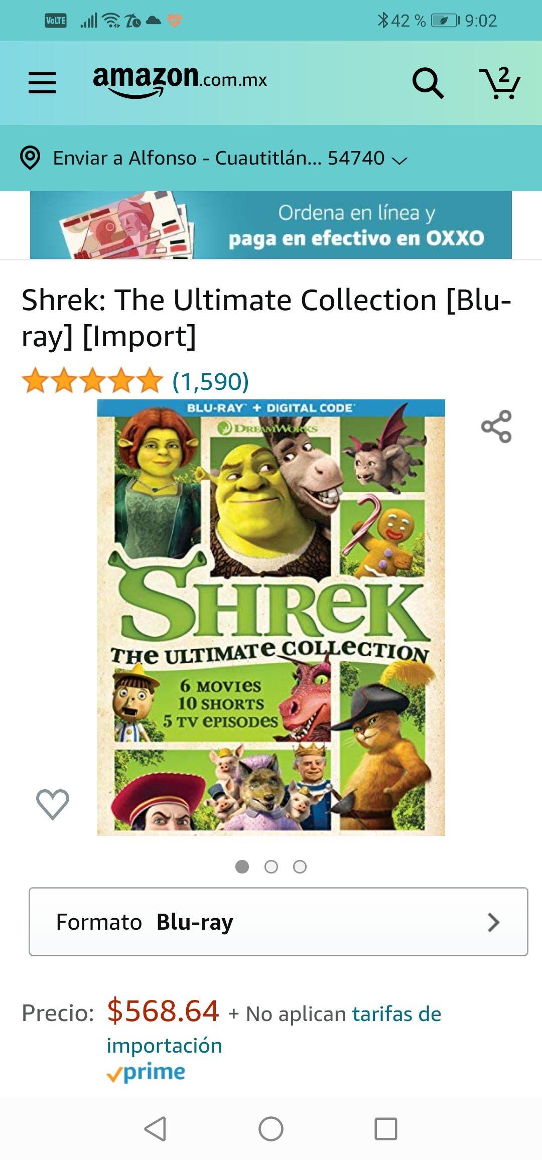 AMAZON : Todas las películas del ogro consentido Shrek calidad blu ray.