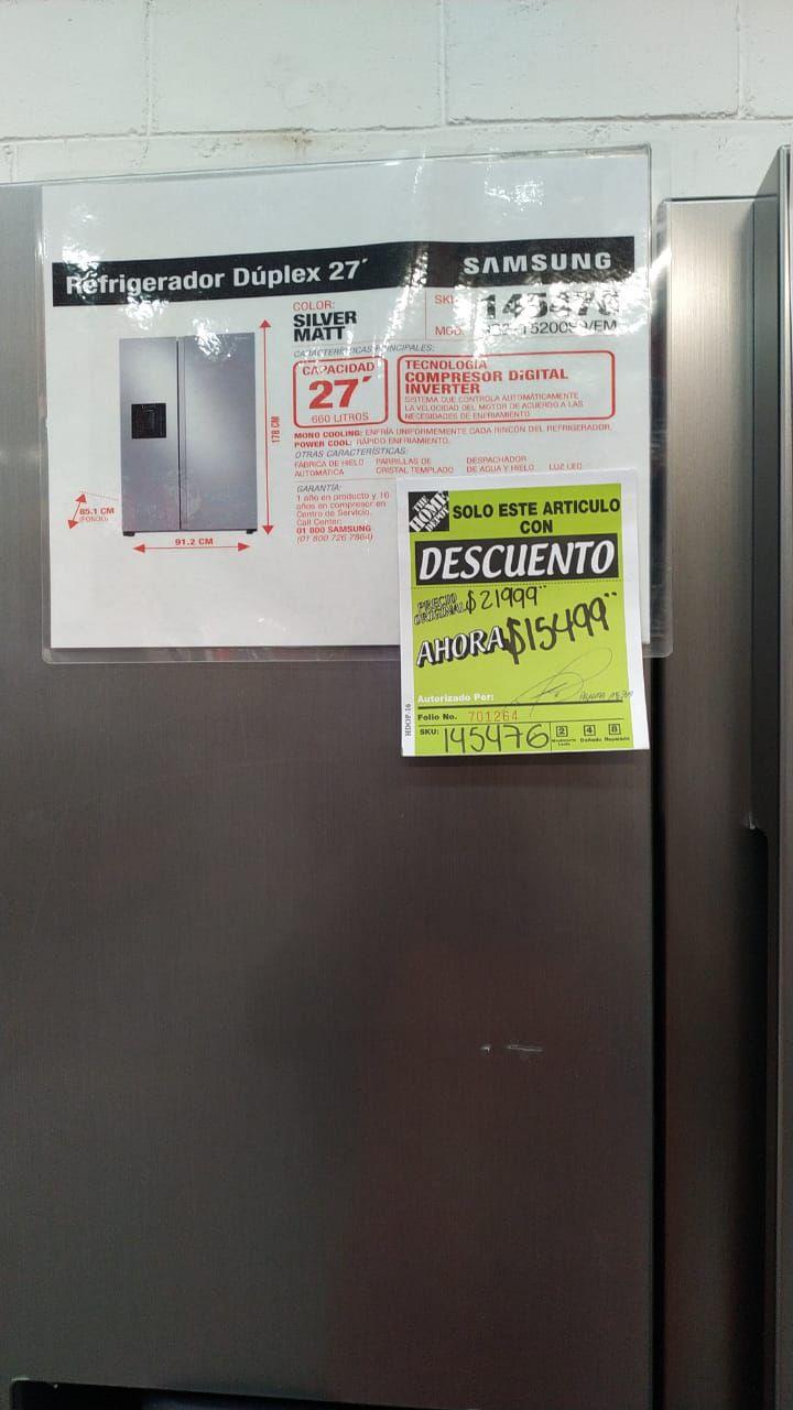 Home Depot: Refrigerador duplex 27 Samsung