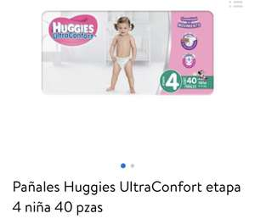 Walmart: Pañales Huggies UltraConfort etapa 4 niña y niño 40 pzas