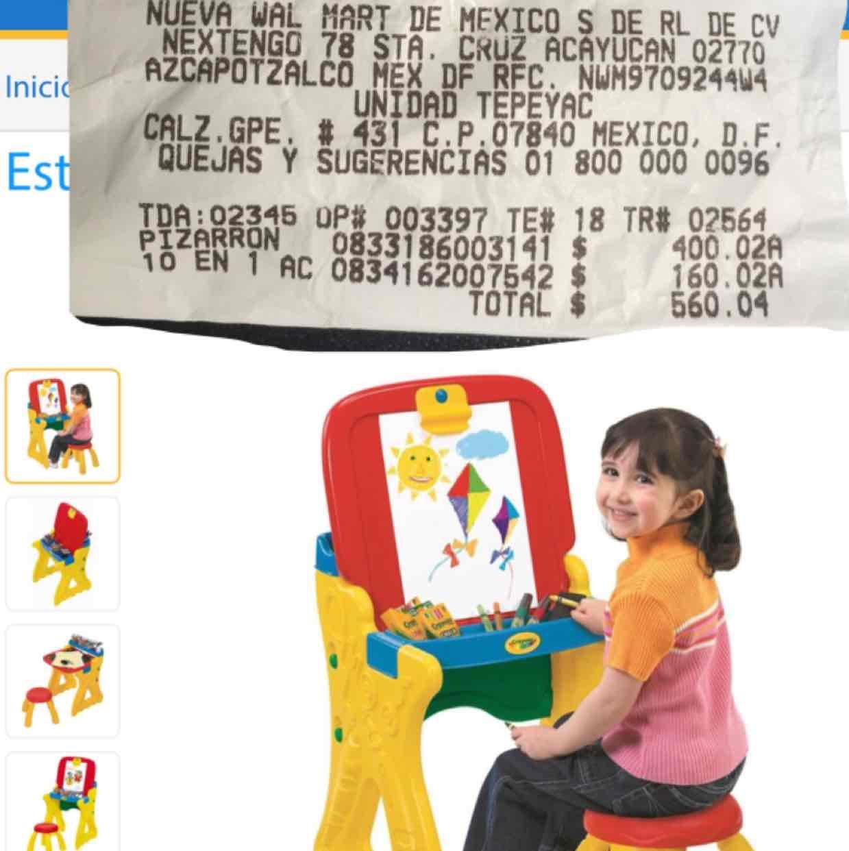 Walmart Tepeyac: Escritorio-caballete preescolar marca Crayola a $400.02