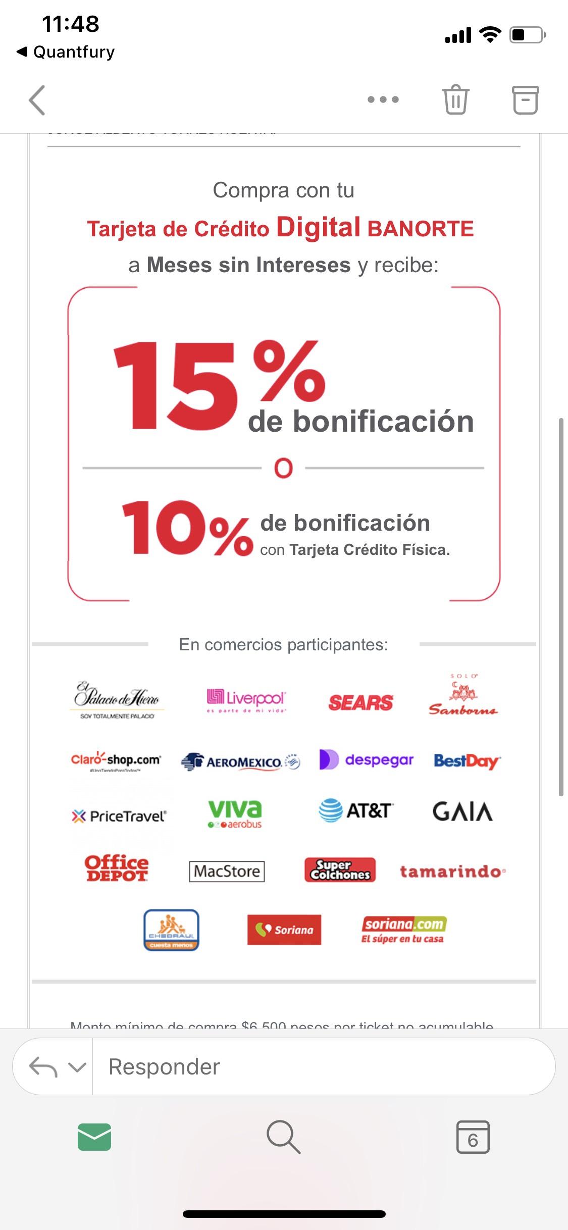 Banorte: 15% de bonificación Con tarjeta de crédito digital