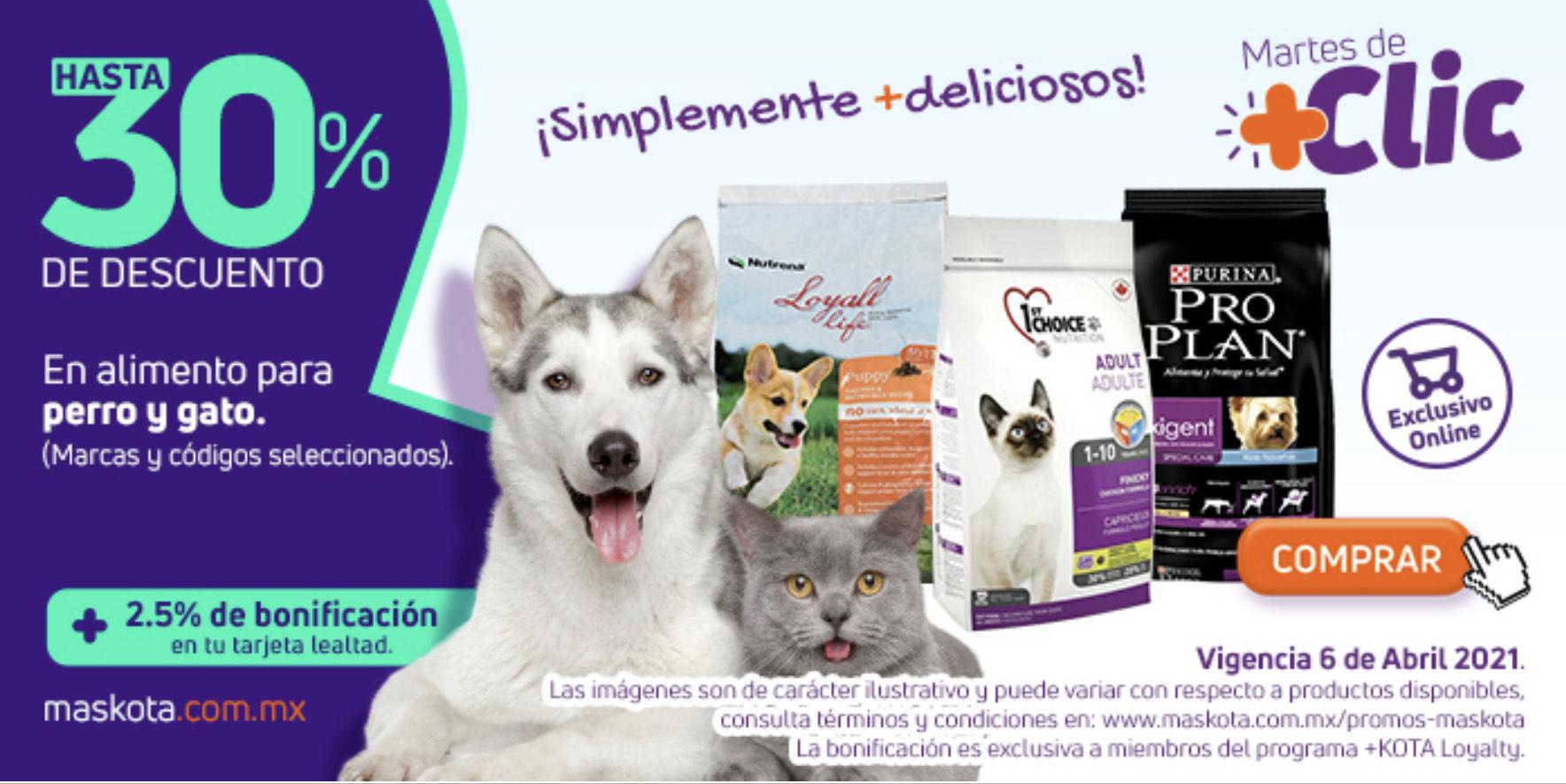 maskota online: alimento para perros y gatos hasta 30% + bonificación
