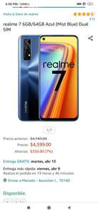 Amazon: Realme 7, Versión Global 6/64, Desbloqueado - Color Mist Blue