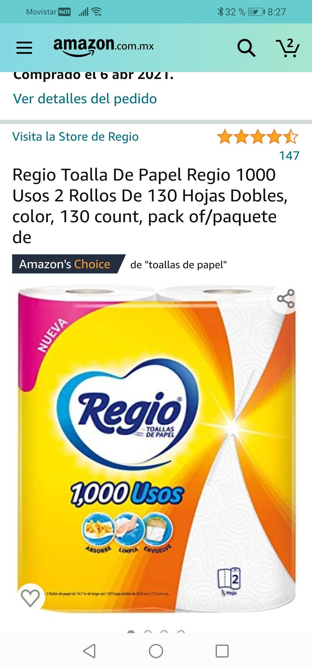 Amazon: Regio Toalla De Papel Regio 1000 Usos 2 Rollos De 130 Hojas Dobles, color, 130 count, pack of/paquete de