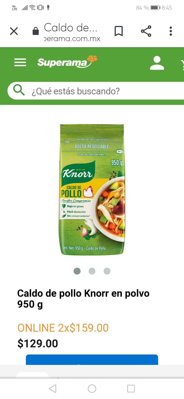 Superama y Walmart en linea: 2 pqtes. De caldo de pollo Knorr 950 grs a muy buen precio!