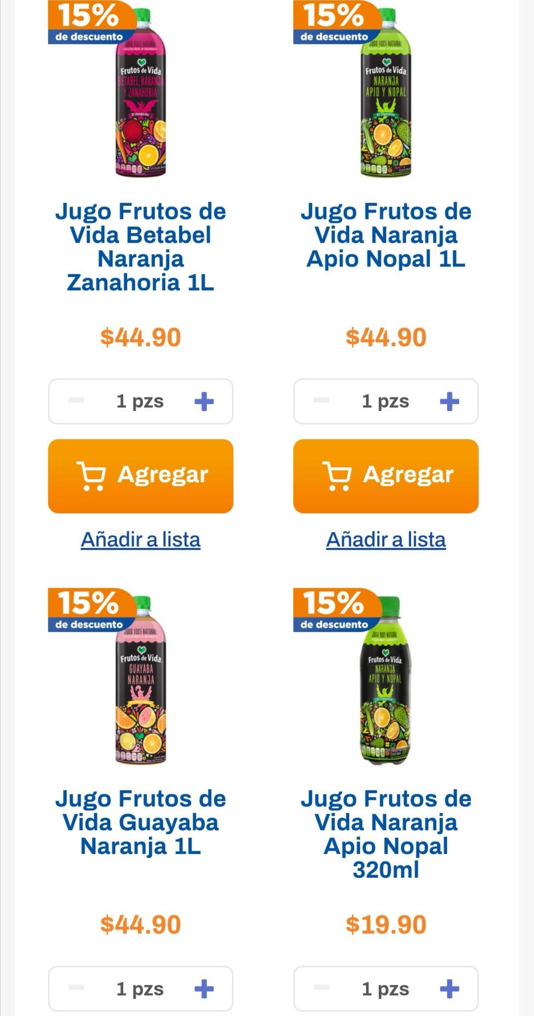 Chedraui: 15% de descuento en jugos marca Frutos de Vida del departamento de frutas y verduras