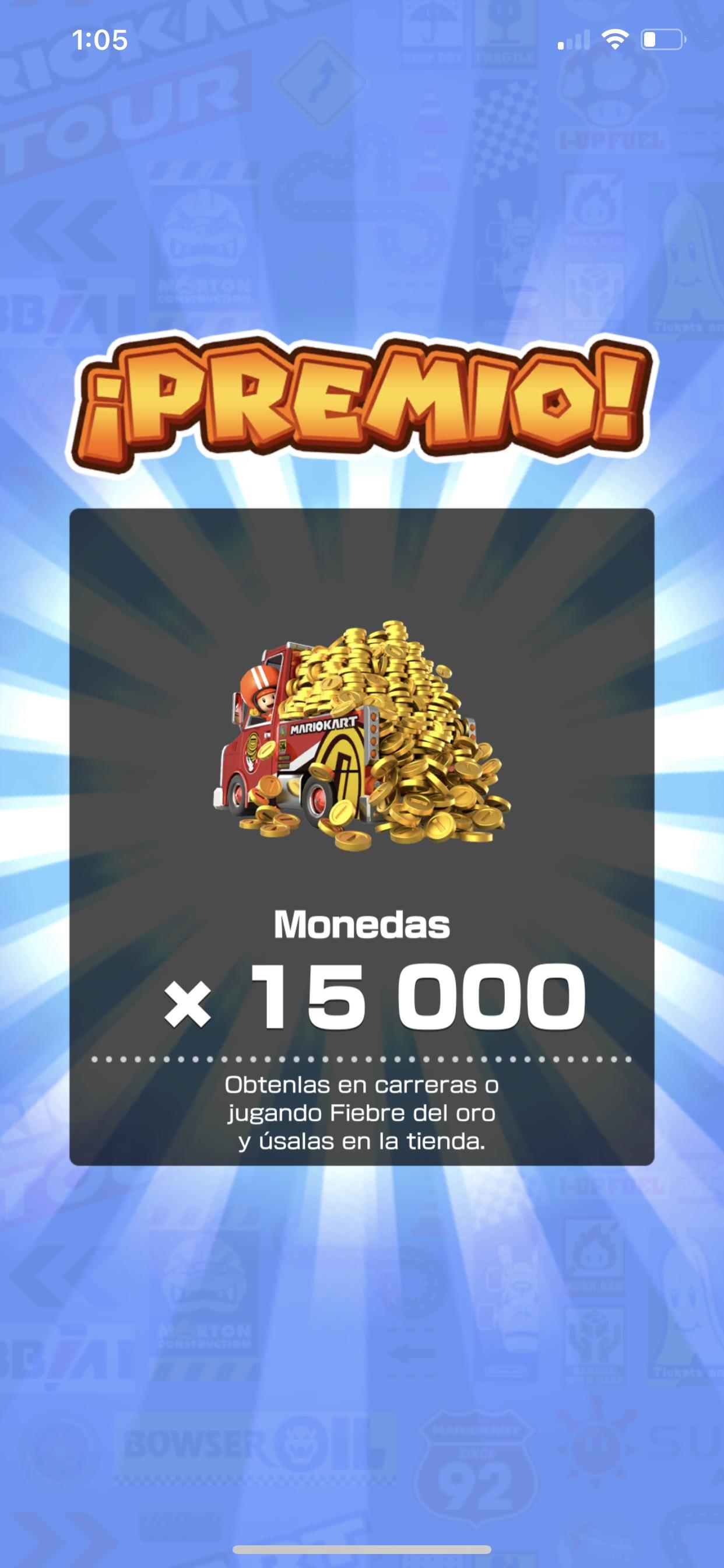 Mario Kart tour; Regalo de 15,000 monedas