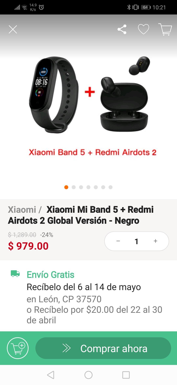 Linio: Combo Mi band 5 + Redmi Airdots 2 (pagando con PayPal)