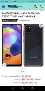 Amazon: Samsung Galaxy A31 Aplica prime