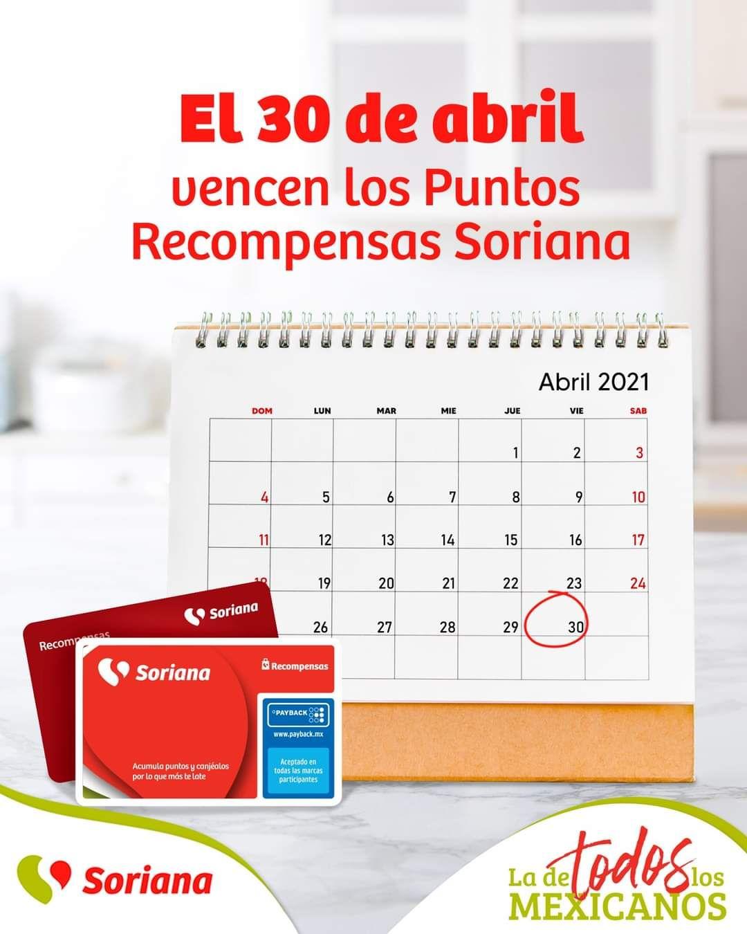 """Soriana Híper y Súper: Folleto """"Productos Gratis con Puntos"""" (Vigencia de Puntos Recompensas Soriana Viernes 30 de Abril)"""