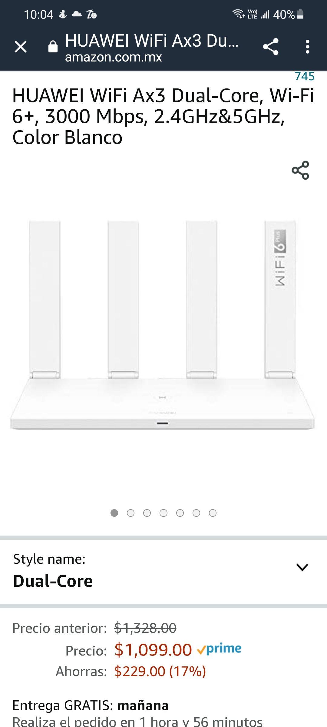 Amazon: HUAWEI WiFi Ax3 Dual-Core, Wi-Fi 6+, 3000 Mbps, 2.4GHz&5GHz, Color Blanco