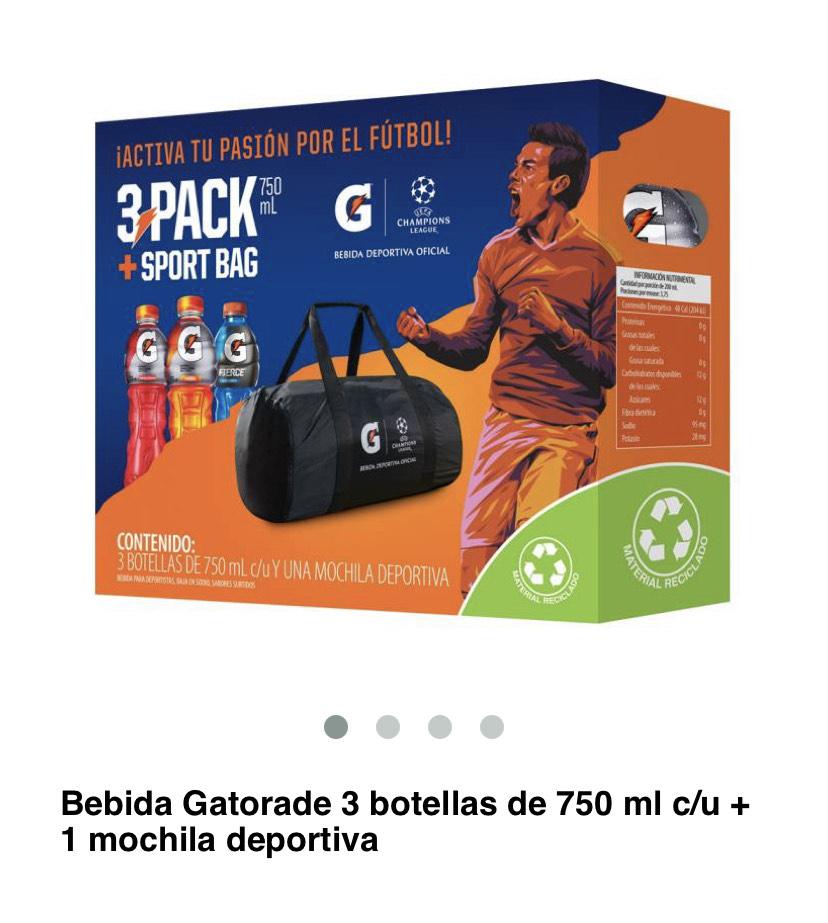 Superama 3 botellas de Gatorade + mochila deportiva