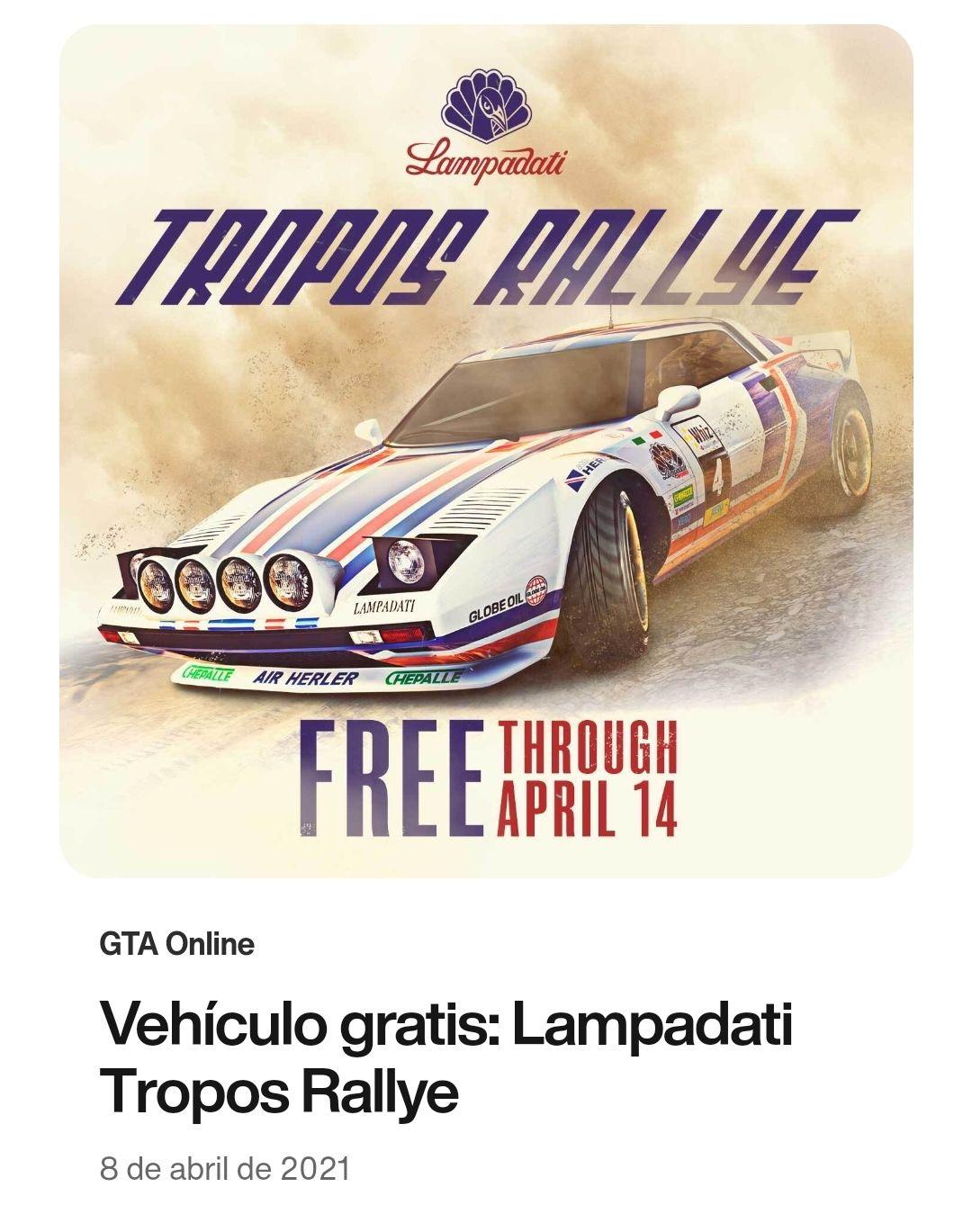 Grand Theft Auto V: Coche GRATIS (Tropos Rallye)