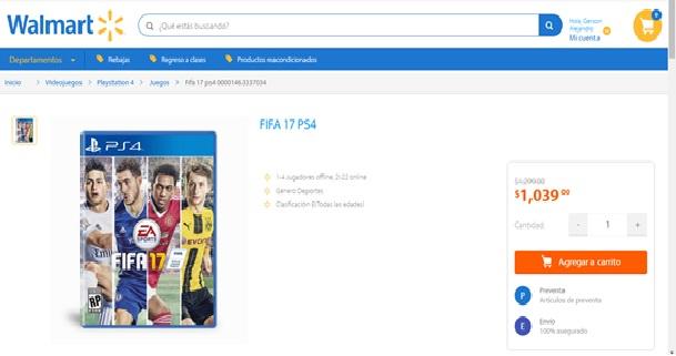 Walmart: FIFA 2017 para PS4 y Xbox One
