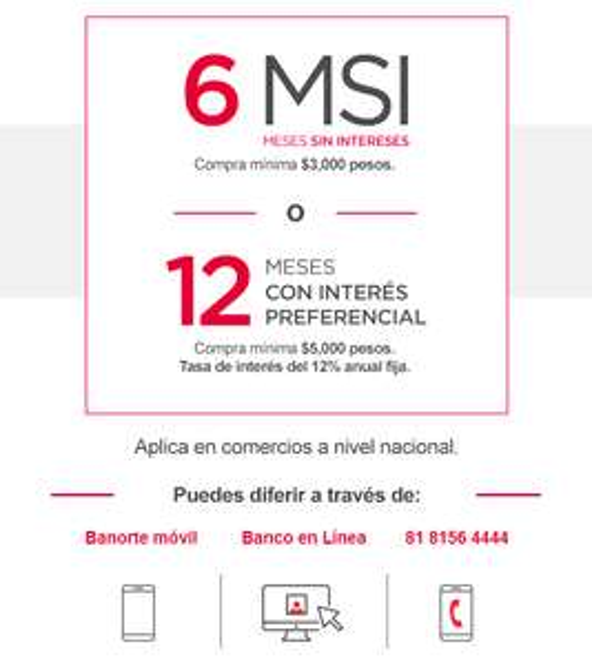Promocion TC Banorte: En ABRIL difiere tus compras a 6 MSI Y 12 MCI (zapatos, ropa, telas)