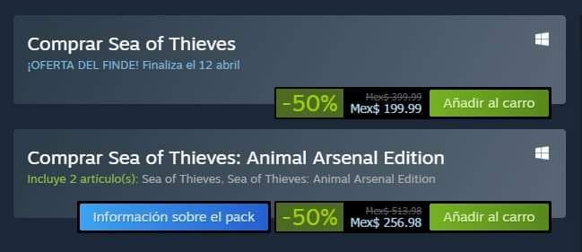 Descuento de Sea of Thieves en Steam