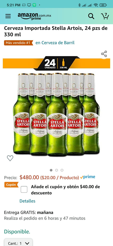 Amazon: Cerveza Stella Artois (cupón de descuento)