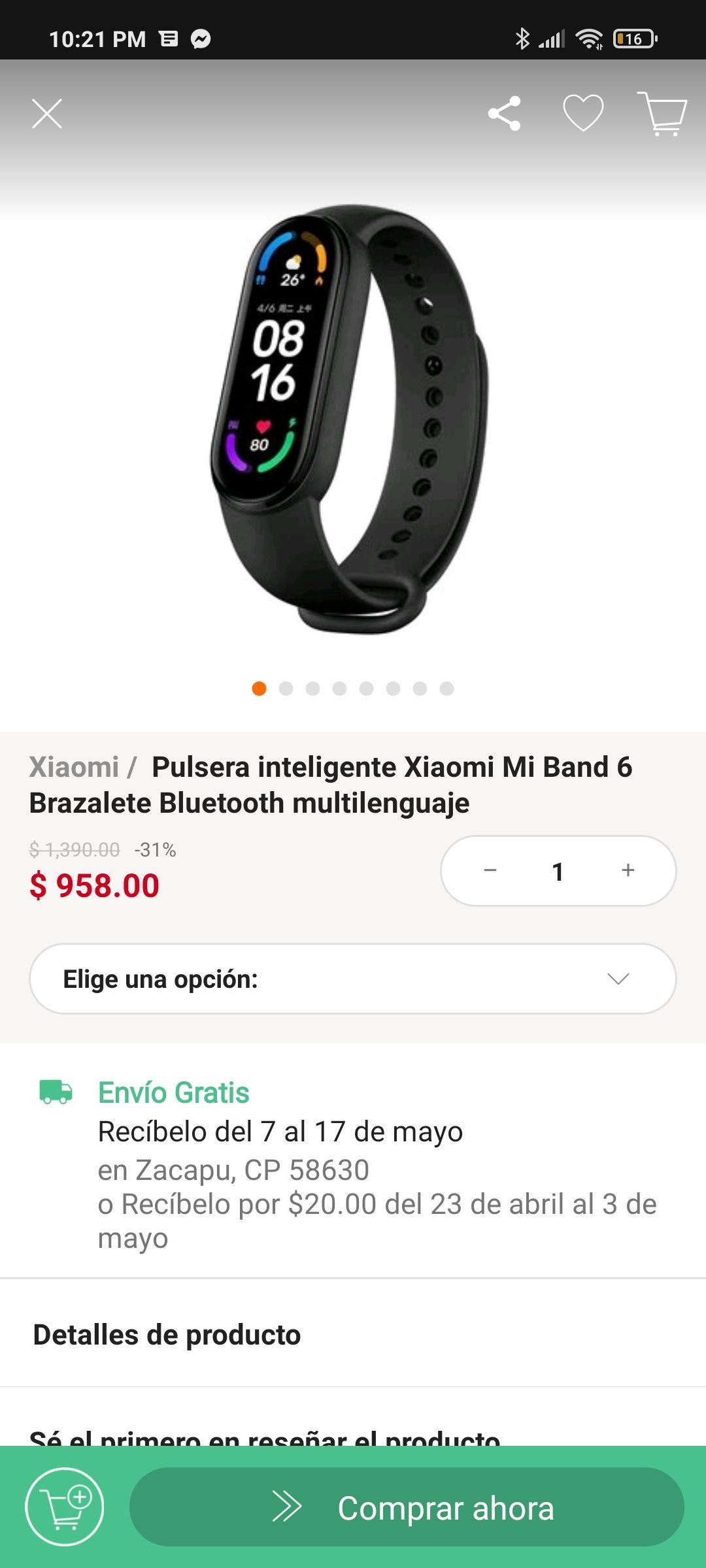 Linio: Xiaomi Mi Band 6 con PayPal