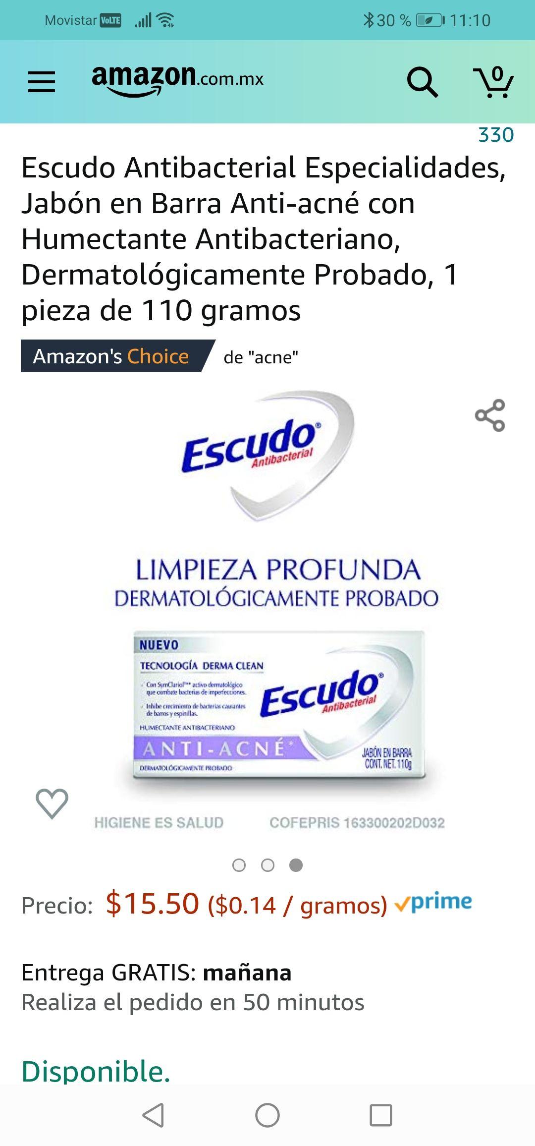 Amazon: Escudo Antibacterial Especialidades, Jabón en Barra Anti-acné con Humectante Antibacteriano