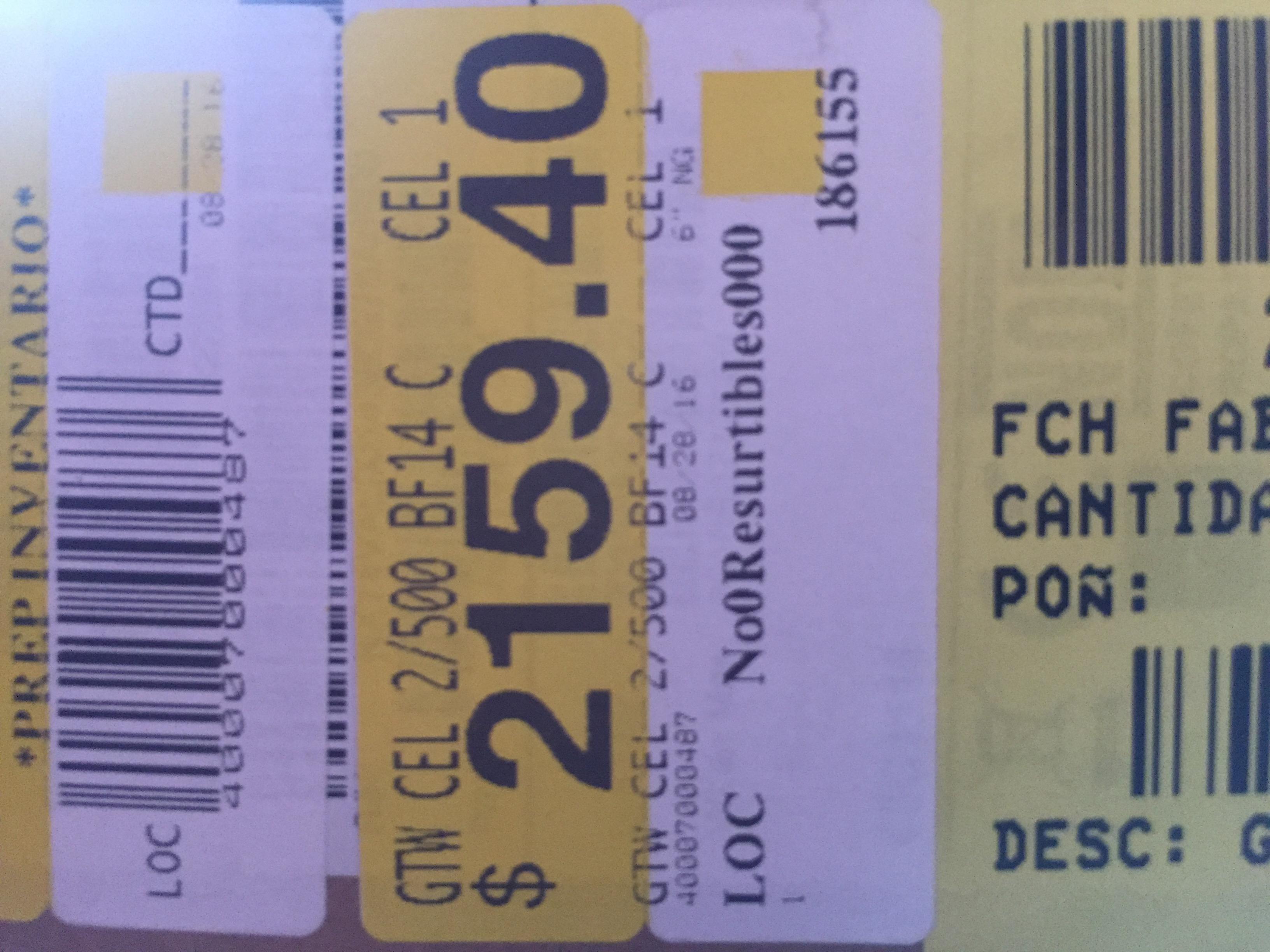 Walmart Plaza Oriente: laptop Gateway 2Gb RAM 500Gb DD a $2,159.40