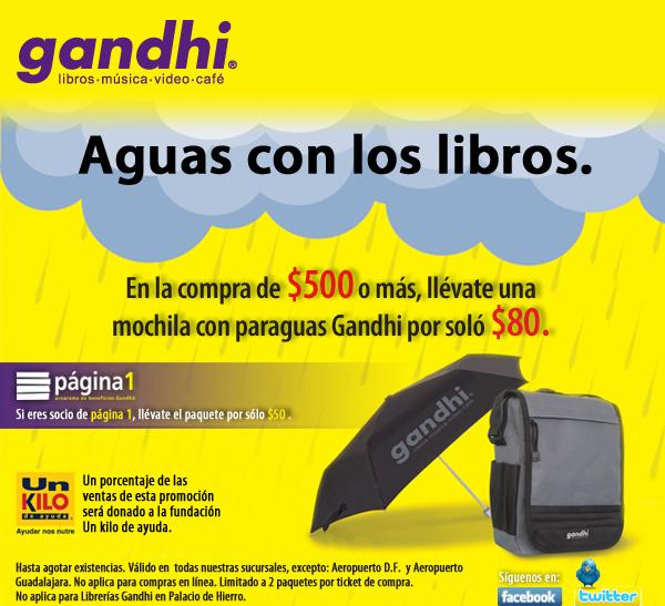 Gandhi: mochila y paraguas a $80 en la compra de $500 o más