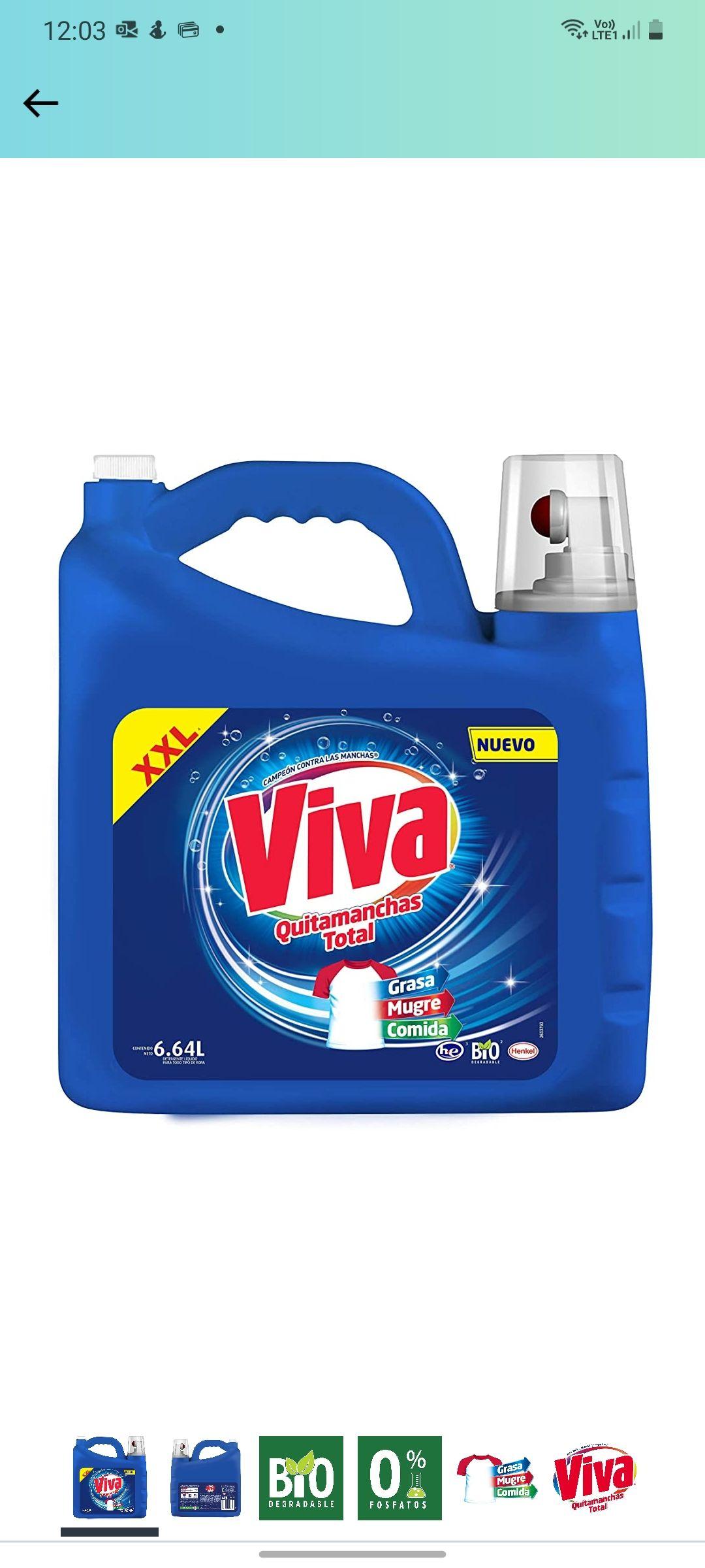 Amazon: Viva Quitamanchas Total Regular, Detergente líquido 6.64 L (Planea y Ahorra)