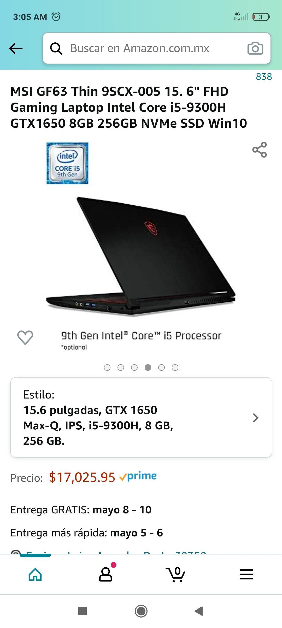 "Amazon MSI GF63 Thin 9SCX-005 15. 6"" FHD Gaming Laptop Intel Core i5-9300H GTX1650 8GB 256GB NVMe SSD Win10"