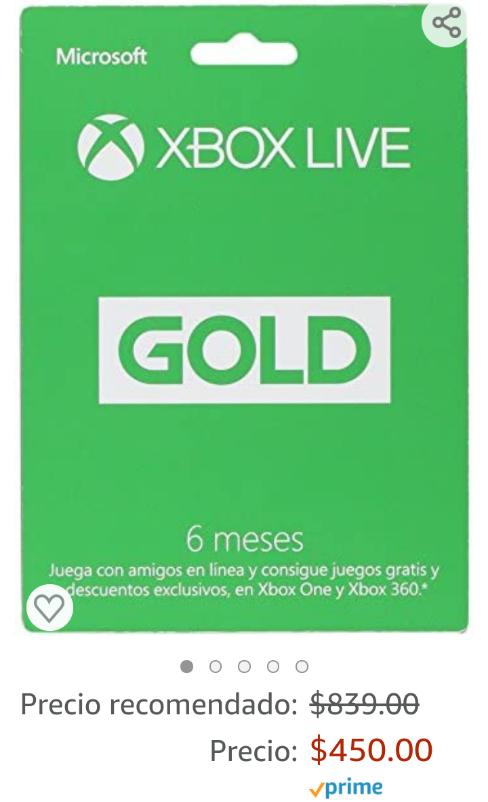 Amazon: Xbox Live Gold 6 meses ($50 pejitos menos que el último publicado de Amazon)
