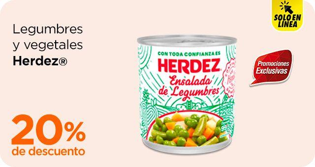 Chedraui: 20% de descuento en legumbres y vegetales Herdez y en atún agua o aceite lata 130 g. Herdez