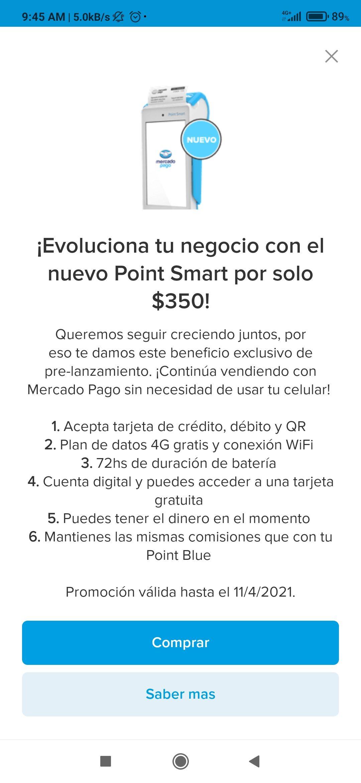 Mercado pago, Point Smart promoción de lanzamiento
