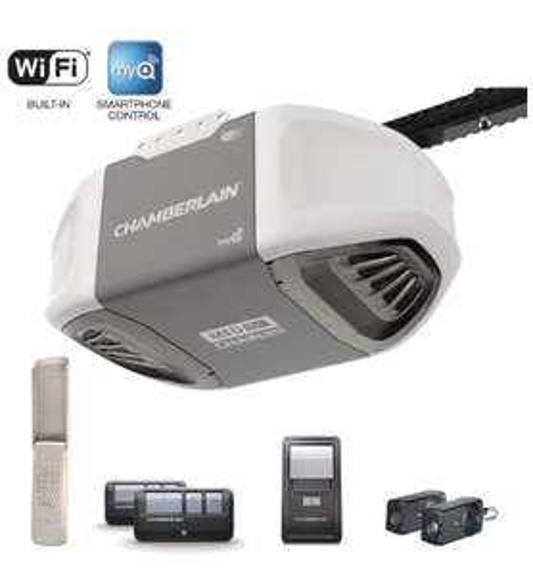 Amazon: Chamberlain C450 Abridor de puerta de cochera de transmisión por correa, controlado por smartphone