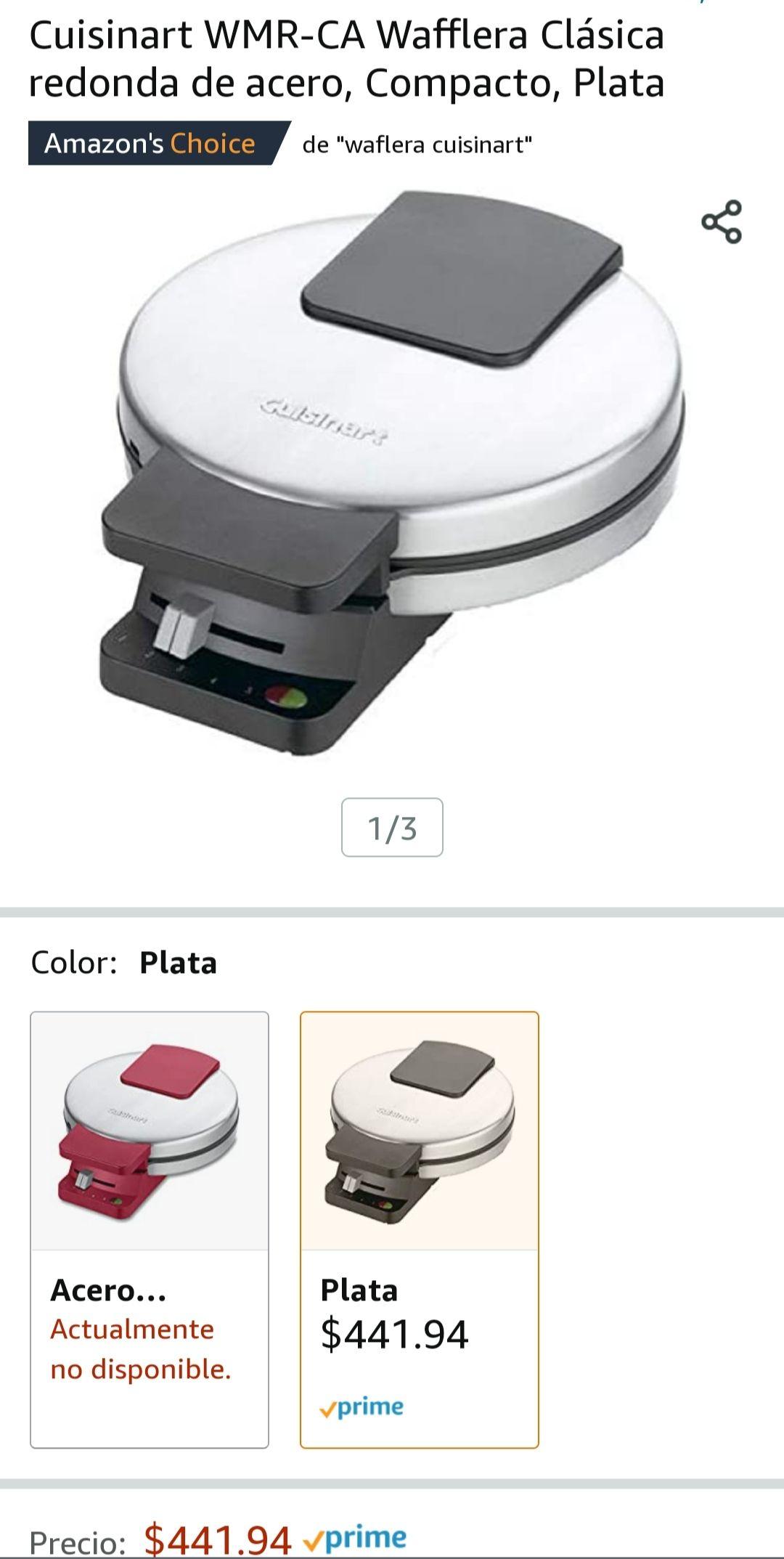 Amazon Cuisinart WMR-CA Wafflera Clásica redonda de acero, Compacto, Plata