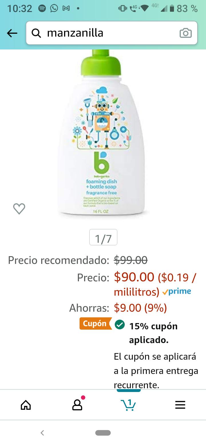Amazon, Babyganics Jabon lavatrastres Seguro para Biberones, Sin Fragancia, 473 ml