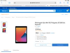 Walmart: iPad 8th de 32gb / hasta 12 MSI